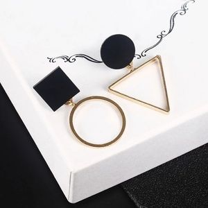 Jewelry - Circle Square Triangle Faux Stone Earrings